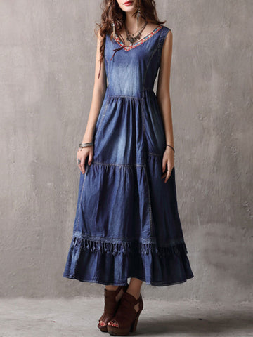 Ethic V-Neck Sleeveless Patchwork Tassel Big Hem Denim Dresses