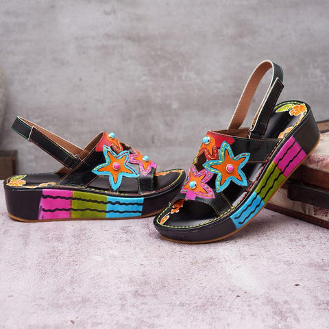 Unique Chinese Folk Style Floral Patchwork Platform Heel Velcro Leather Sandals