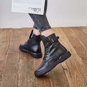 New handmade leather simple retro front strap flat Martin boots