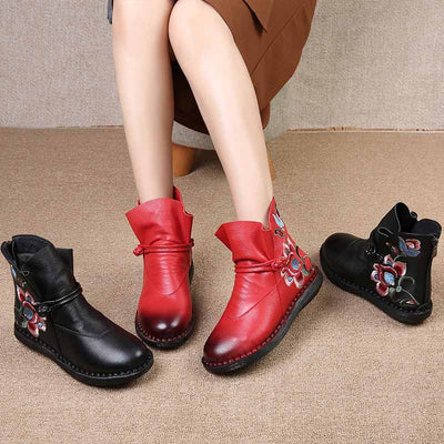 Leather ethnic totem round head flat back zipper women's boots