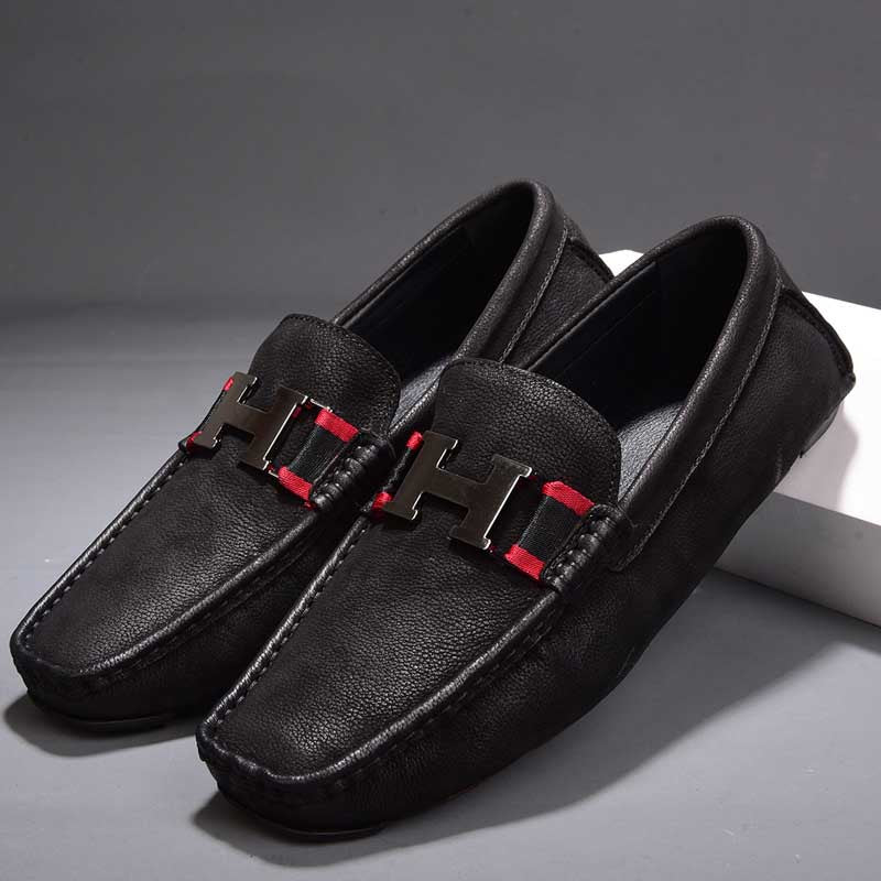 Leather men's casual shoes tide low to help the British driving peas shoes