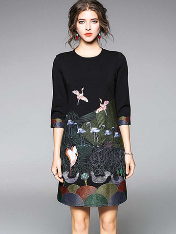 Heavy duty embroidered black cropped sleeve dress
