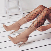 Solid Color Point Toe Lace-Up Stiletto Heel Mid-Calf Boots