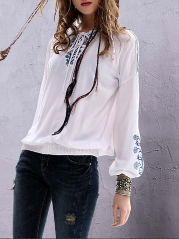 V-Neck Lace-Up Lantern Sleeve Embroidery Linen & Cotton Blouses