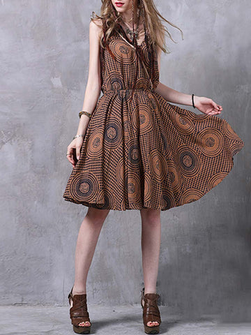 V-Neck Sleeveless Pleated Floral Cliffon Knee-Length Day Dresses