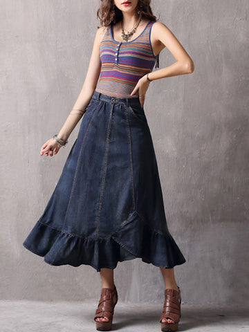 Vintage Ruffle Pleated Pocket Patchwork High-Waist Cotton Skirts