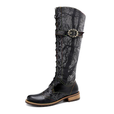 2019 new retro knight boots national wind riding boots handmade leather women's boots knee women's boots