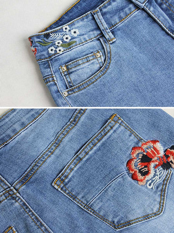 Ethic Embroidery Patchwork Pocket High-Waist Worn Cotton Jeans