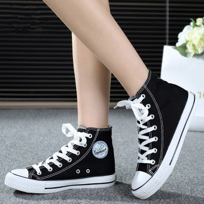 Casual literary all-match high-top canvas shoes for lovers
