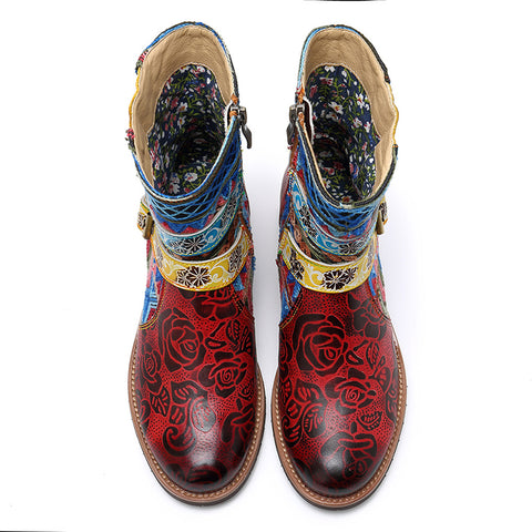 Embroidery Buckle Patchwork Round Toe Leather Chunky Heel Ankle Boots
