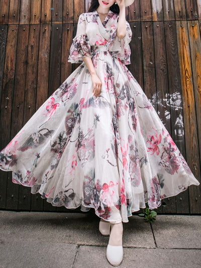 Vintage Floral V-Neck Patchwork Pleated Ruffle Big Hem Maxi Dresses