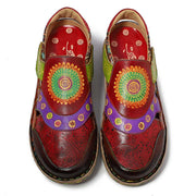 Patchwrok Color Block Flower Floral Side Zipper Leather Round Toe Loafers