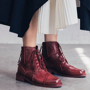 2019 new retro solid color leather lace women's boots