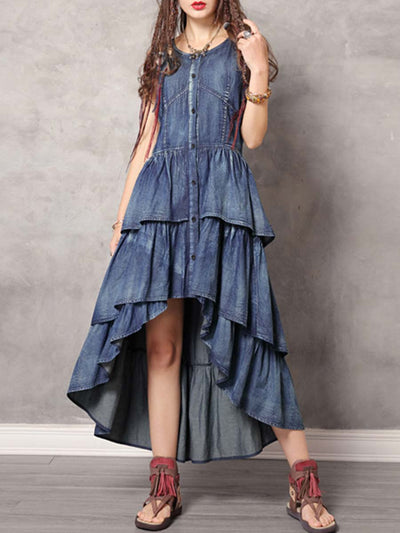 Asymmetric Round Neck Sleeveless Patchwork Buttons Cake Denim Dresses