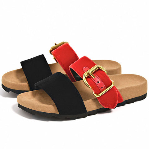 Buckle Color Block Hollow Slip-On Flat Heel Loafers