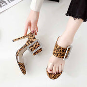 Super high heel leopard fashion square buckle female slippers