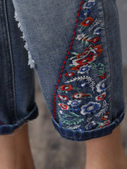 Casual Embroidery Lace-Up Hole Pocket Mid-Calf Cotton Jeans