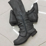 Double Zipper Hollow Belt Buckle Thick Knee-High Chunky Heel Boots
