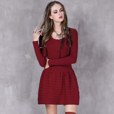 Autumn and winter new vintage jacquard long-sleeved dress