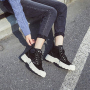 2020 new autumn and winter round head leather casual shoes wild thick women's shoes