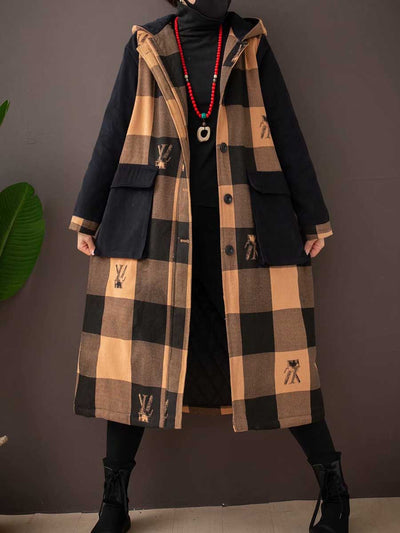 Winter large square hooded cotton long section literary ladies winter coat