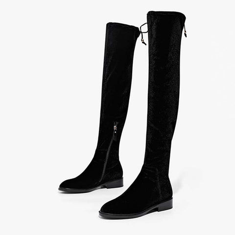 New winter and autumn over the knee long tube thick with solid color elastic casual women's boots