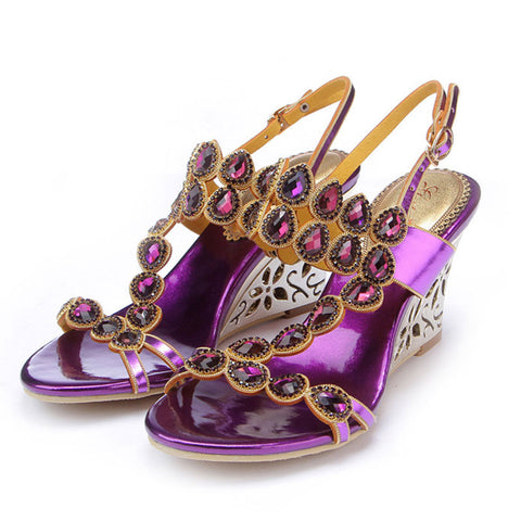 Purple Rhinestones Hollow Ankle Strap Buckle Wedge Sandals
