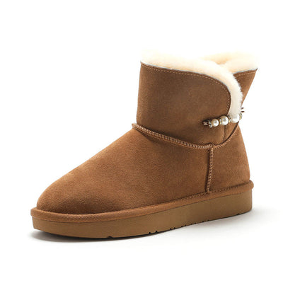 Autumn and winter new genuine leather ladies snow boots short tube cotton shoes non-slip thick wild boots