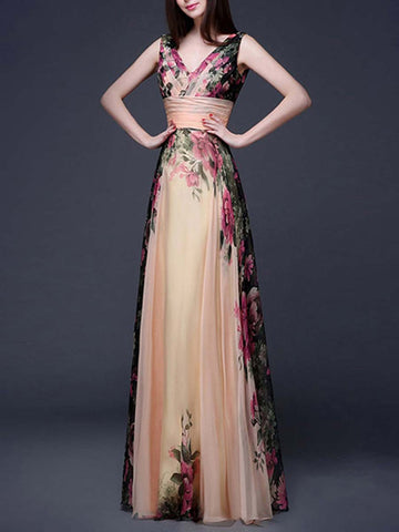 Plus Size Patchwork Floral A-Line V-Neck Sleeveless Chiffon Maxi Dresses