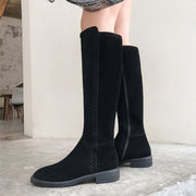 2019 autumn and winter new leather riding boots women's boots women's flat high tube British boots
