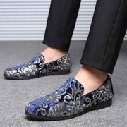 Men's flower pump glossy casual shoes
