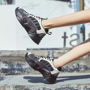 2020 spring new round-toe thick-bottom leather increased inside Korean black ladies sneakers
