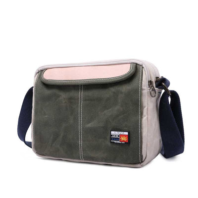 Wear-resistant cross-body canvas shoulder men's retro bag