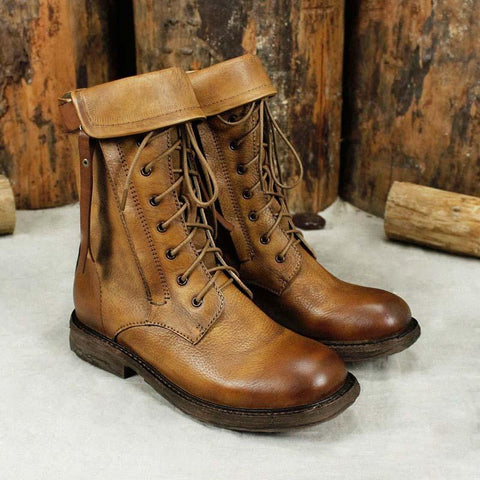 New leather handmade low heel tube leather knight boots