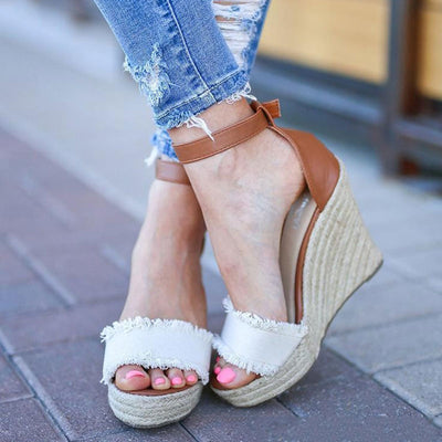 Line Open Toe Buckle Hollow Ankle Strap Platform Heel Summer Wedges