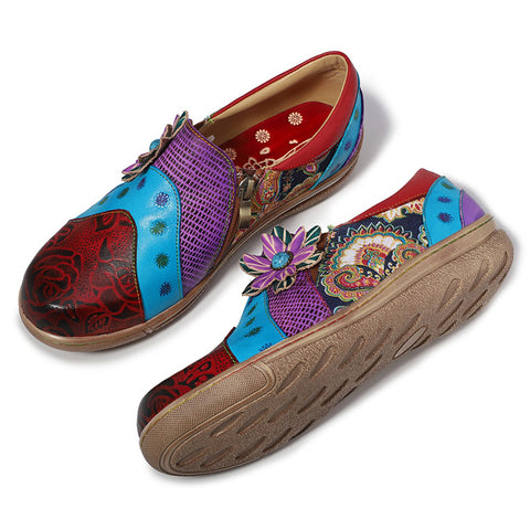 Bohemian Style Floral Patchwork Flat Heel Leather Loafers