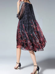 Cliffon Embroidery Three Quarters Sleeve Floral Pleated Casual Dresses