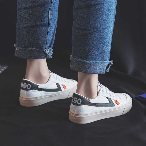 Wild casual flat bottom wave canvas white shoes