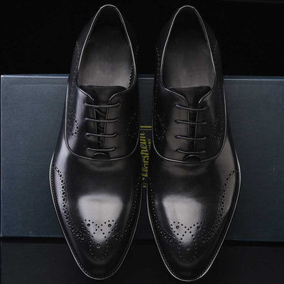 Bullock carved leather business dress men's casual pointed leather shoes