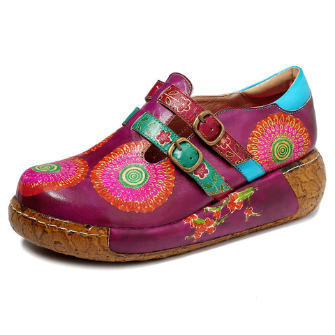 New casual retro ethnic style handmade shoes leather stitching printed flats