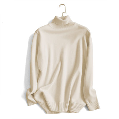 Women's high quality pure color turtleneck sweater base shirt