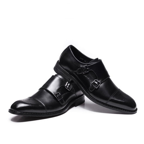 New British business casual leather shoes formal leather shoes Brock men's shoes