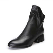 First layer cowhide thick heel leather handmade vintage bare boots woman