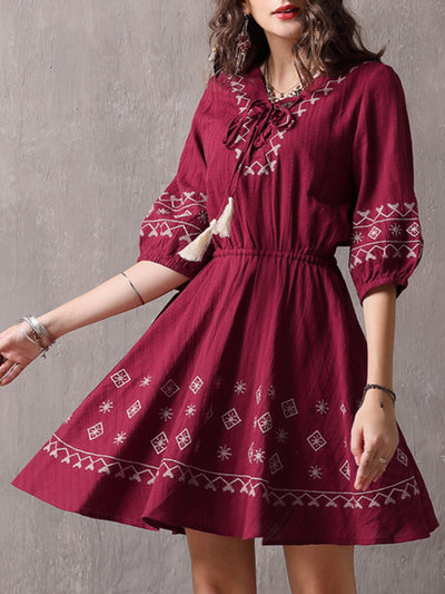 Embroidery Tassel Lace-Up V-Neck Half Sleeve Linen & Cotton Dresses