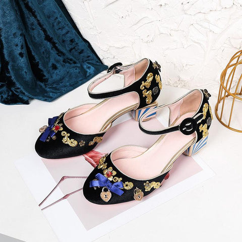 Vintage Bowknot Floral Lace-Up Back Pleuche Sandals