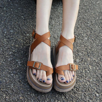 Roman Style Solid Color Asymmetric Buckle Strap Leather Sandals
