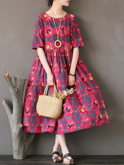 Vintage Floral Short Sleeve Round Neck A-Line Linen & Cotton Dresses