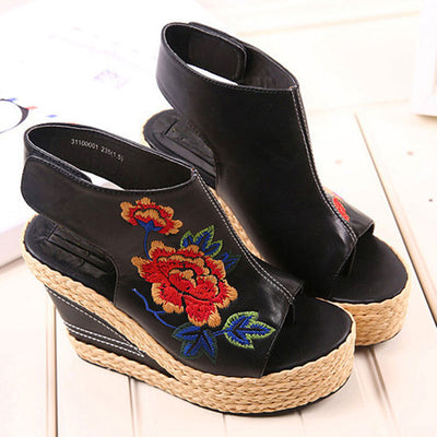 Peep Toe Embroidery Velcro Patchwork Leather Wedge Sandals