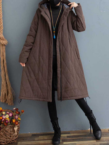 Winter snowflake point hooded cotton long section literary ladies winter coat