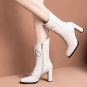 Winter new beige white boots autumn and winter new full leather high heel women's boots retro England boots